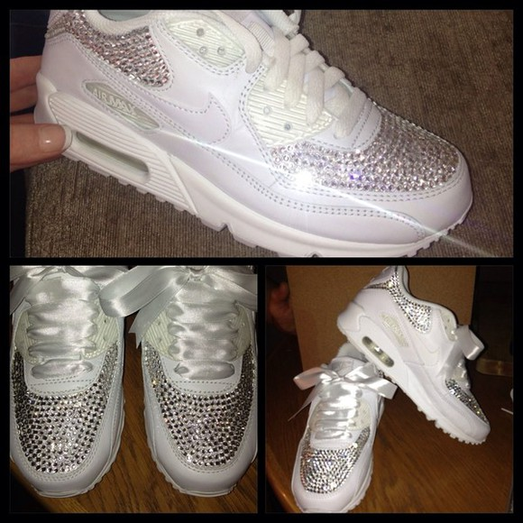 shoes crystal white nike air max swarovski nike air max 90