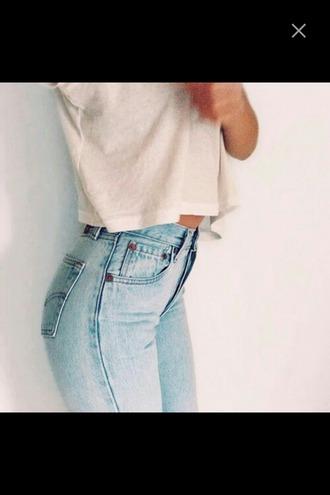 jeans light blue light jeans crop tops t-shirt white white t-shirt high waisted jeans denim