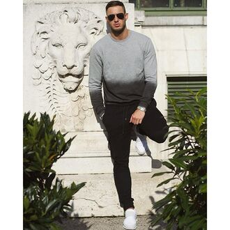 top maniere de voir dip dyed ripped ombre sweatshirt sweater jumper grey