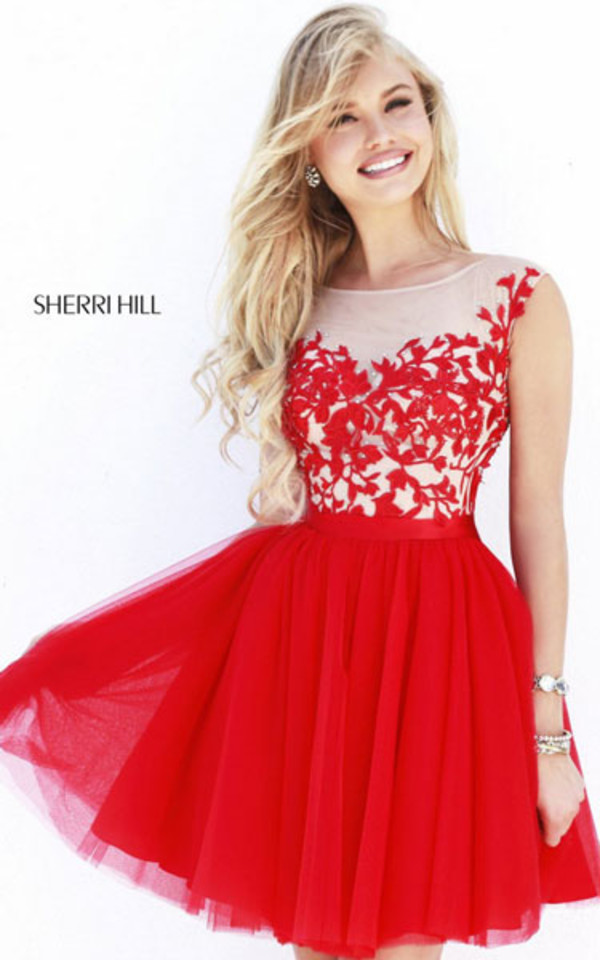 red dress homecoming dress short party dresses 2014