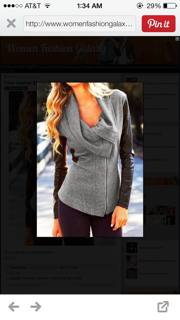 jacket faux leather pinterest gray and black cute