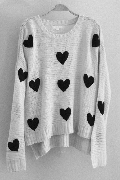 fall outfits black and white heart jumper fashion clothes heart pullover