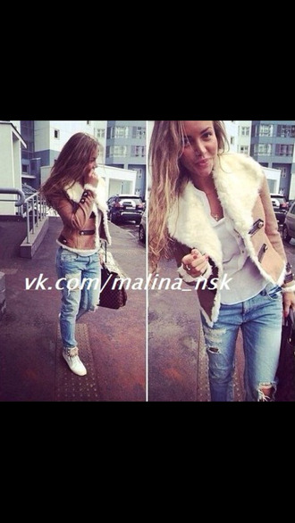 jacket brown leather jacket white fur