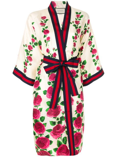 gucci kimono rose women nude cotton print silk top