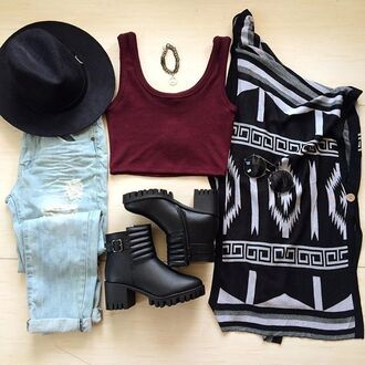 tank top bellexo hat boots booties crop tops crop tank jeans denim black burgundy boyfriend jeans cardigan shoes