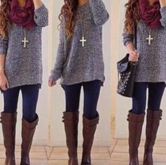 sweater cute sweaters grey sweater cross necklace