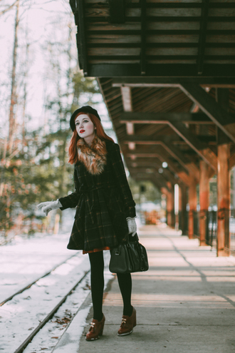 the clothes blogger winter coat fur scarf