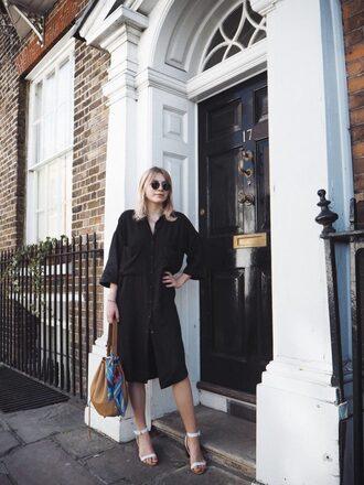 intothefold blogger dress shoes bag sunglasses black dress sandals shoulder bag