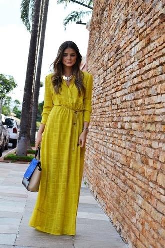 dress boho dress boho maxi dress long sleeve maxi dress yellow dress spring dress bag blue bag necklace spring outfits long sleeved maxi dress