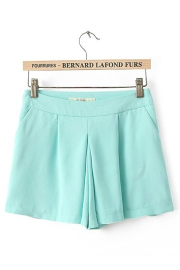 High waist simple shorts in green [shwm00163]