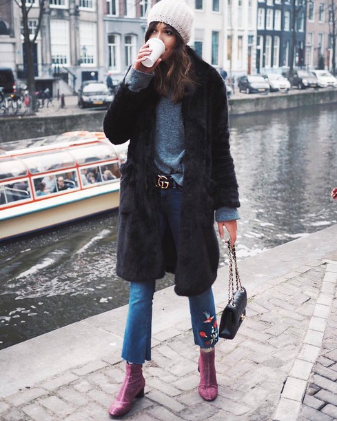 coat tumblr black coat fur coat sweater grey sweater denim jeans blue jeans cropped jeans embroidered embroidered jeans kick flare boots ankle boots bag black bag chain bag beanie long fur coat black fur coat