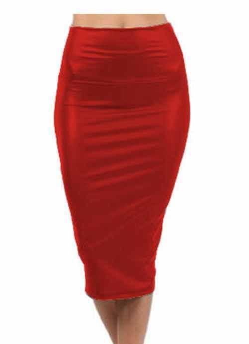 Solid leather midi skirt