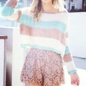 shirt blue sweater sweater striped sweater shorts