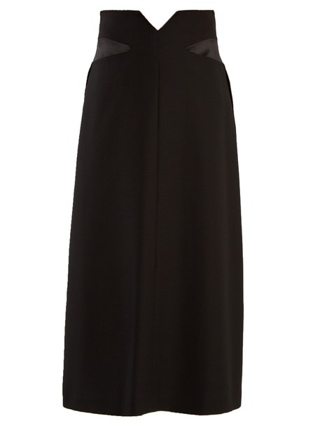 skirt midi skirt midi wool satin black