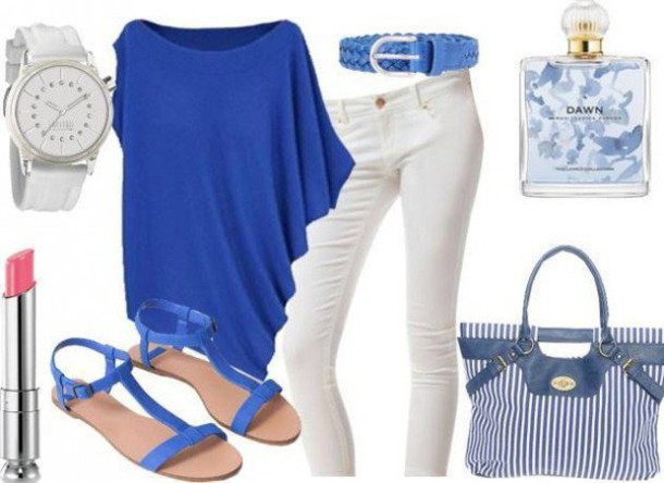 belt top bag make-up jeans shoes