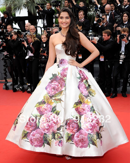 Free shipping Celebrity dress Sonam 2013 Cannes Off the shoulder Ball gown Strapness Print flower Custome-in Celebrity-Inspired Dresses from Apparel & Accessories on Aliexpress.com