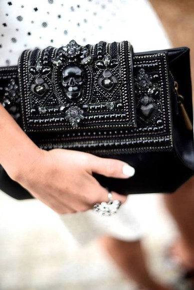 jewels black jewels skull bag black black skull black bags black purse black on black handbag