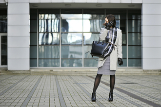 shiny sil blogger coat scarf gloves classy office outfits tartan scarf dress tights bag belt shoes