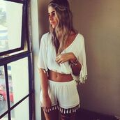blouse,shorts,fringes,summer shorts,top,tassel,white top,jumpsuit,romper,crop tops,crop,cropped,set,white two piece,flowy sleeves,matching crop top and shorts
