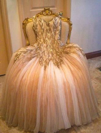 dress beautician and the beast. gold dress strapless dress fluffy