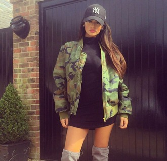 jacket camouflage camo jacket baseball cap mini dress fall outfits