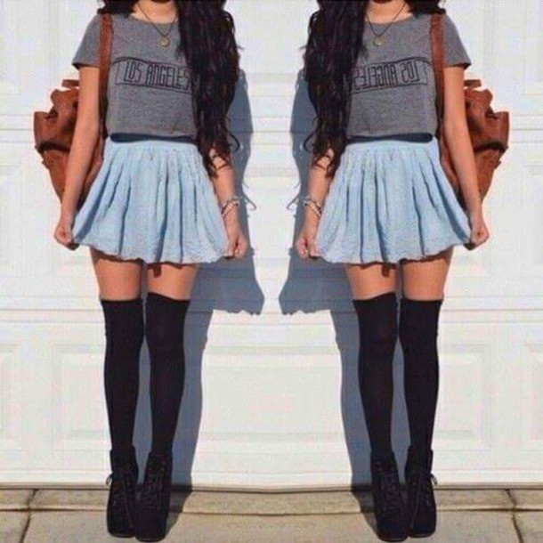 t-shirt grey t-shirt los angeles shirt blue skirt denim skirt long socks skirt shoes socks