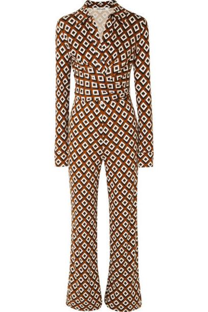 Diane von Furstenberg - Wrap-effect Printed Silk-jersey Jumpsuit - Brown