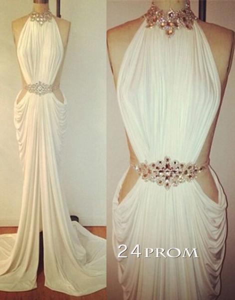 Custom made white chiffon long prom dresses, evening dresses