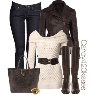 blouse boots jacket bag shoes sweater belt jeans leather jacket