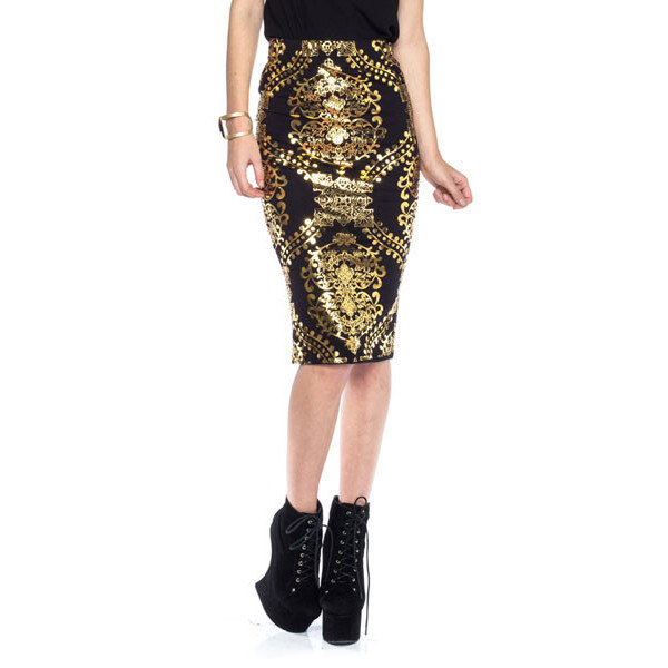 skirt gilded midi black gold baroque graphic tee print chic luxury makeup table vanity row dress to kill rock vogue vogue china