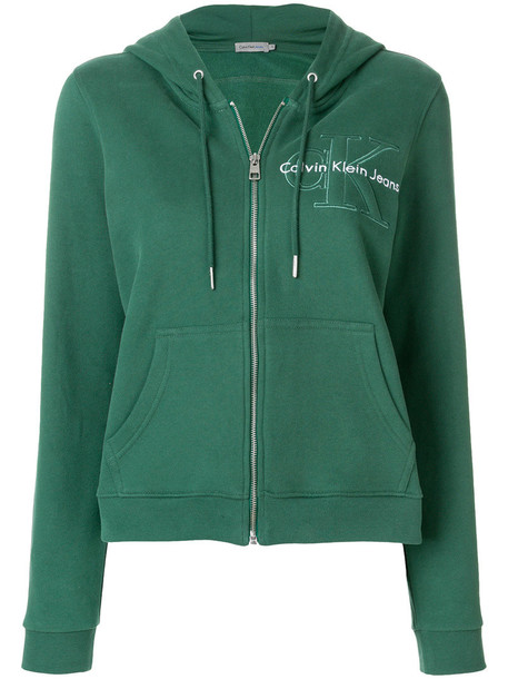 Calvin Klein hoodie women cotton green sweater