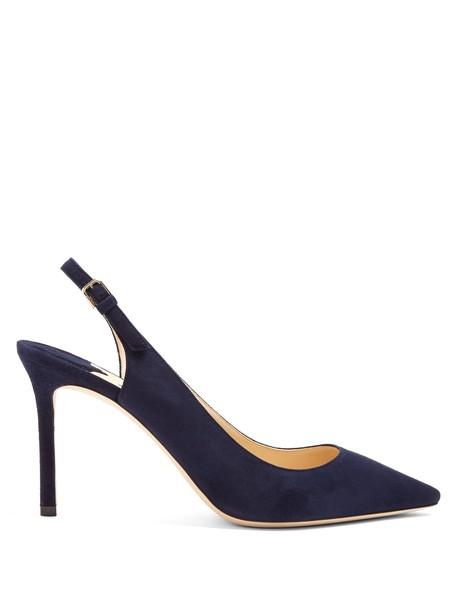 Jimmy Choo heel suede navy shoes