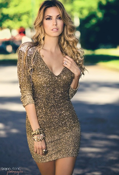 Dress: sequins, gold, long sleeve dress, cocktail dress - Wheretoget