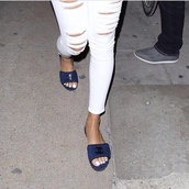 shoes,chanel,rihanna.,rihanna,sandals,rihanna shoes,jeans