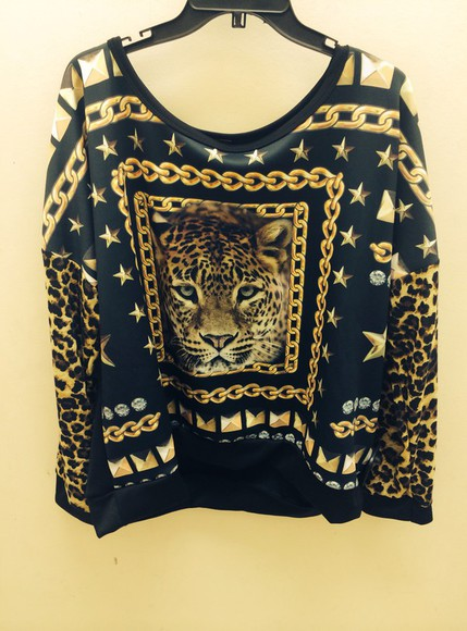 sweater tiger print style gold chain black streetwear exclusive fashion celebrity style