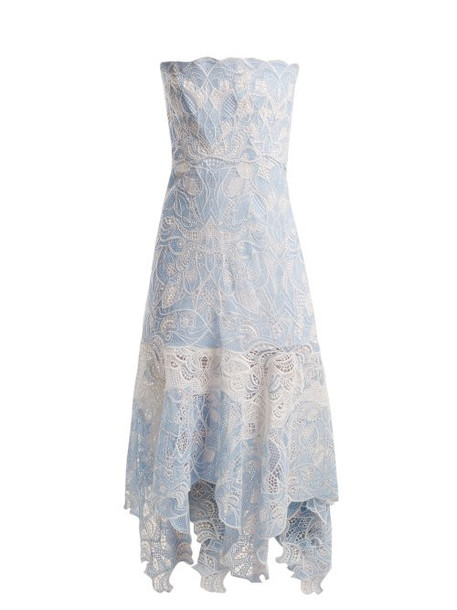 Jonathan Simkhai - Strapless Floral Embroidered Lace Dress - Womens - Light Blue