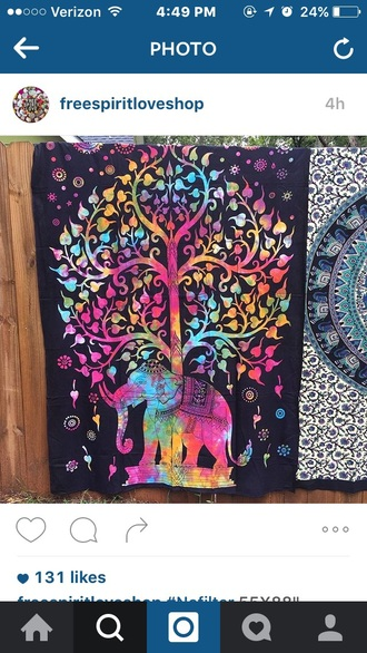 home accessory elephant tie dye tapestry