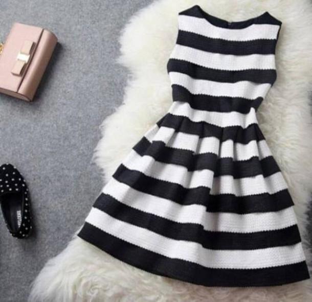 dress high-low dresses bag black white black dress white dress striped dress