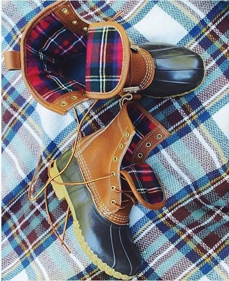 shoes duck boots plaid weather snow