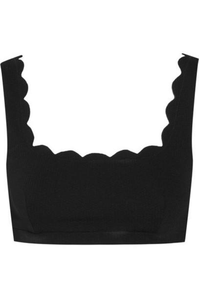 bikini bikini top scalloped black swimwear