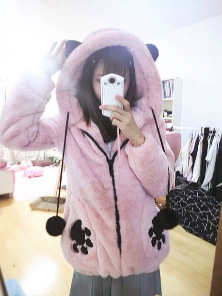coat pink jacket kawaii japanese fashion