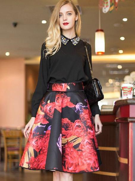 Luxurious Floral High Waisted Skater Skirt Choies