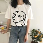 shirt,t-shirt,white,black,face