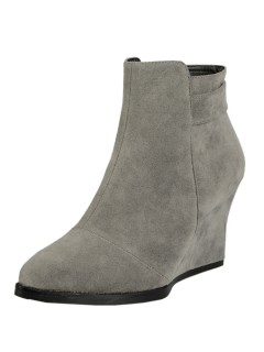 Khaki suedette wedge ankle boots