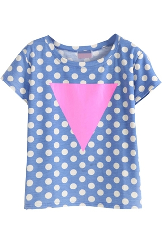t-shirt indie geometric triangle polka dots graphic tee blue pink cute