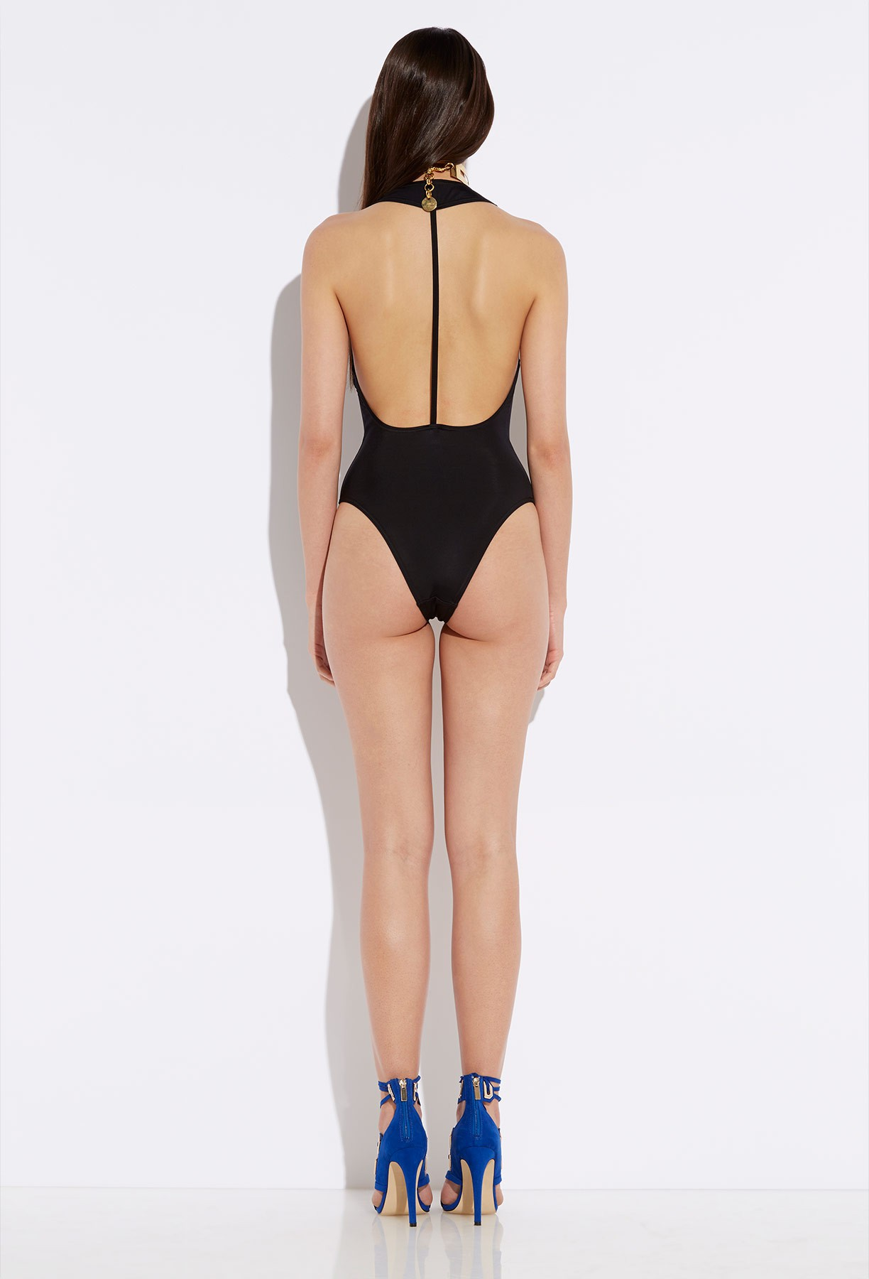 Sydney black halterneck deep v bodysuit