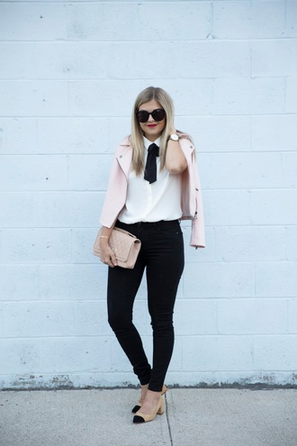 suburban faux-pas blogger jacket blouse jeans shoes sunglasses jewels bag pink jacket white shirt black sunglasses nude bag watch black jeans pumps cap toe mid heel pumps nude pumps