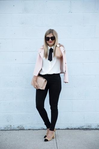 suburban faux-pas blogger jacket blouse jeans shoes sunglasses jewels bag pink jacket white shirt black sunglasses nude bag watch black jeans pumps cap toe mid heel pumps nude pumps block heels
