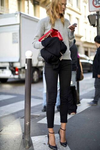 jeans tumblr black jeans cropped jeans black skinny jeans skinny jeans sweater grey sweater bag red bag pointed toe pumps pumps high heels printed pumps ankle strap heels streetstyle fall outfits
