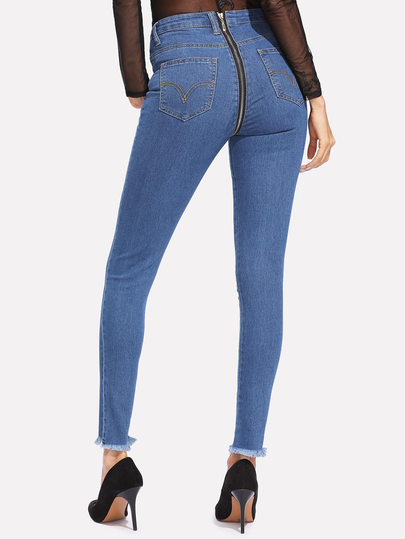 1acf3b26ad Zip Back Frayed Hem Jeans -SheIn(Sheinside)